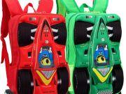 กระเป๋าเป้พร้อมล้อลาก 3D รูปรถแข่งสีแดง มีล้อหมุน3ล้อขึ้นบันไดได้ค่ะ