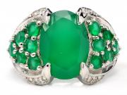เครื่องประดับ แหวนเงินแท้ พลอยหยกโมราสีเขียว