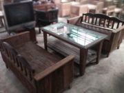 ชุดโต๊ะเฟอร์นิเจอร์ไม้มะค่า