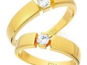 CPRG011 แหวนคู่รักตัวเรือนเงิน เคลือบทอง ประดับเพชร CZ