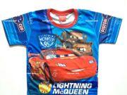 เสื้อผ้าเด็กราคาถูก - เสื้อคอกลมเด็ก CARS ผ้าโพลีเอสเตอร์ CAR-1217-BL เริ่มที่ 140 บาท