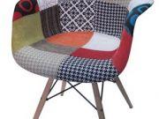 เก้าอี้PP ผ้าผสม มีอาร์ม ขาไม้ CD - 301