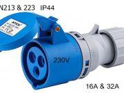 3 Poles 230V 16A32A IP44