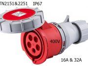 5 Poles 400V 16A32A IP67